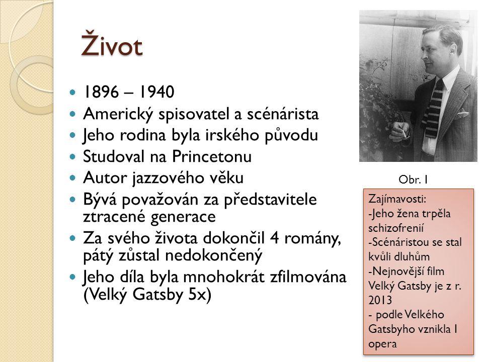 Život 1896 – 1940 Americký spisovatel a scénárista Jeho rodina byla irského původu Studoval na Princetonu Autor jazzového věku Bývá považován za předs