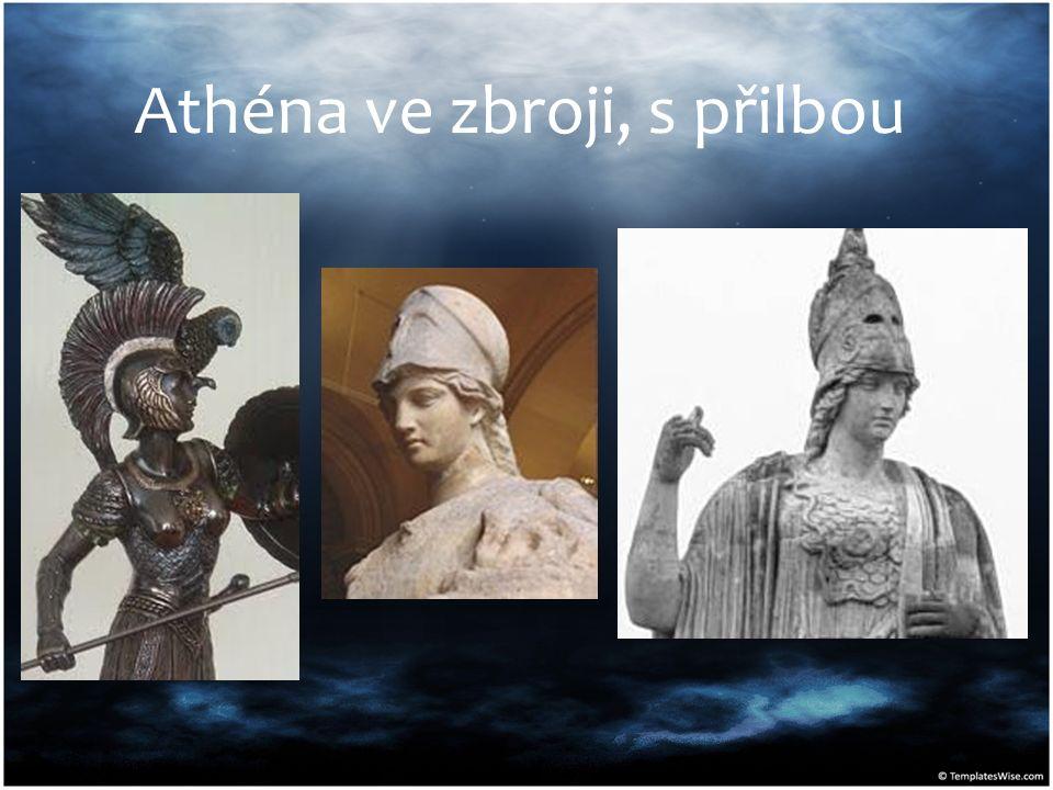 Athéna ve zbroji, s přilbou
