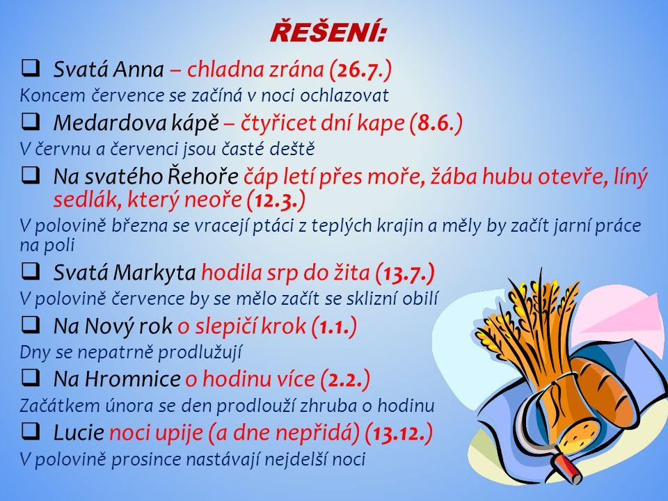 ŘEŠENÍ:  Svatá Anna – chladna zrána (26.7.) Koncem července se začíná v noci ochlazovat  Medardova kápě – čtyřicet dní kape (8.6.) V červnu a červen