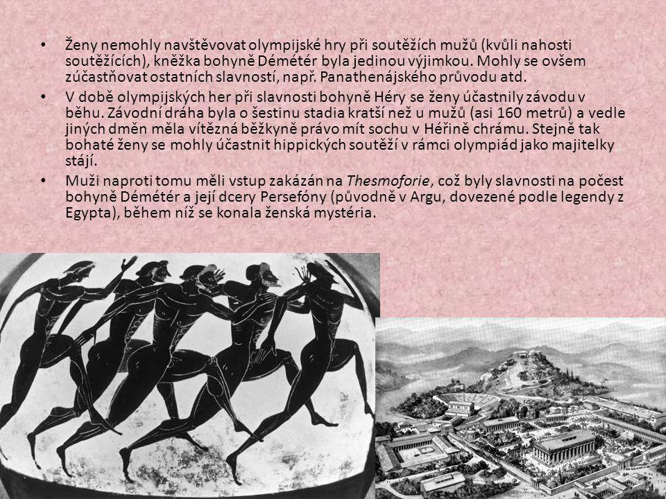 Ženy nemohly navštěvovat olympijské hry při soutěžích mužů (kvůli nahosti soutěžících), kněžka bohyně Démétér byla jedinou výjimkou.