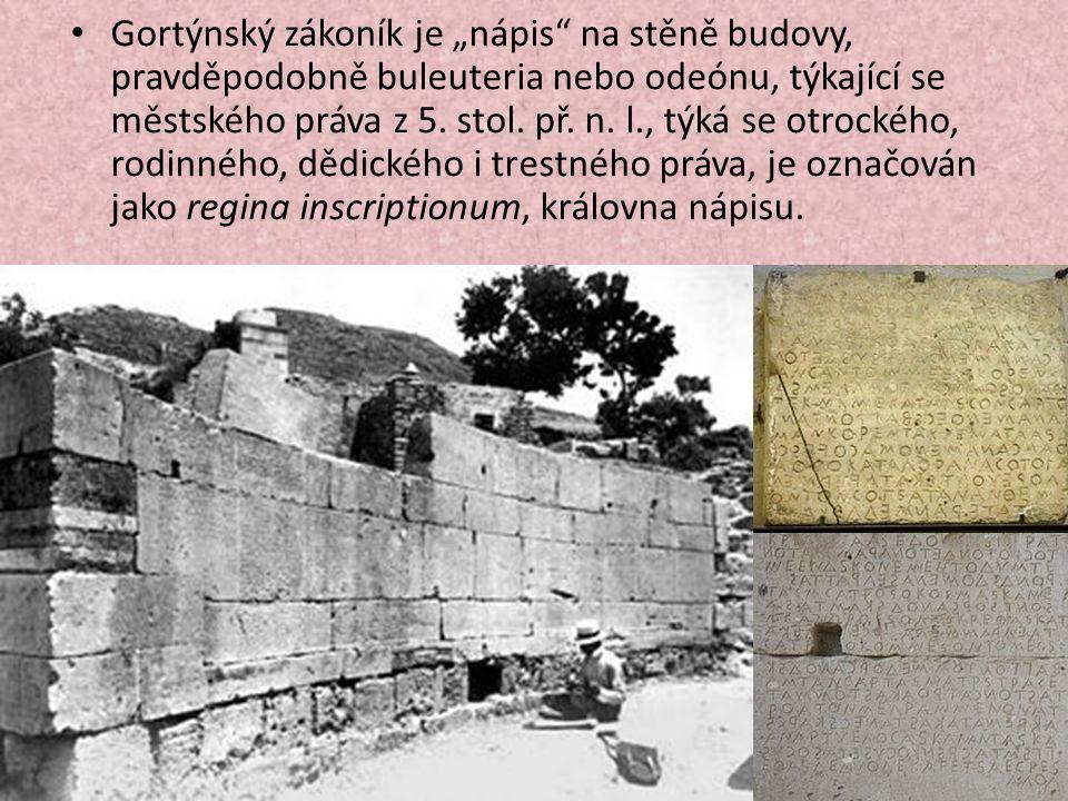 """Gortýnský zákoník je """"nápis na stěně budovy, pravděpodobně buleuteria nebo odeónu, týkající se městského práva z 5."""