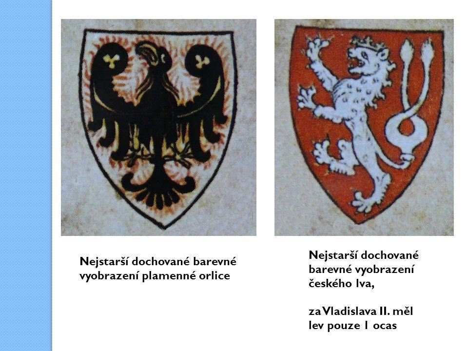 Nejstarší dochované barevné vyobrazení českého lva, za Vladislava II.