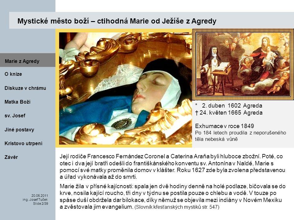 Matka Boží O knize 20.05.2011 ing.Josef Tuček Slide 2/39 Marie z Agredy sv.