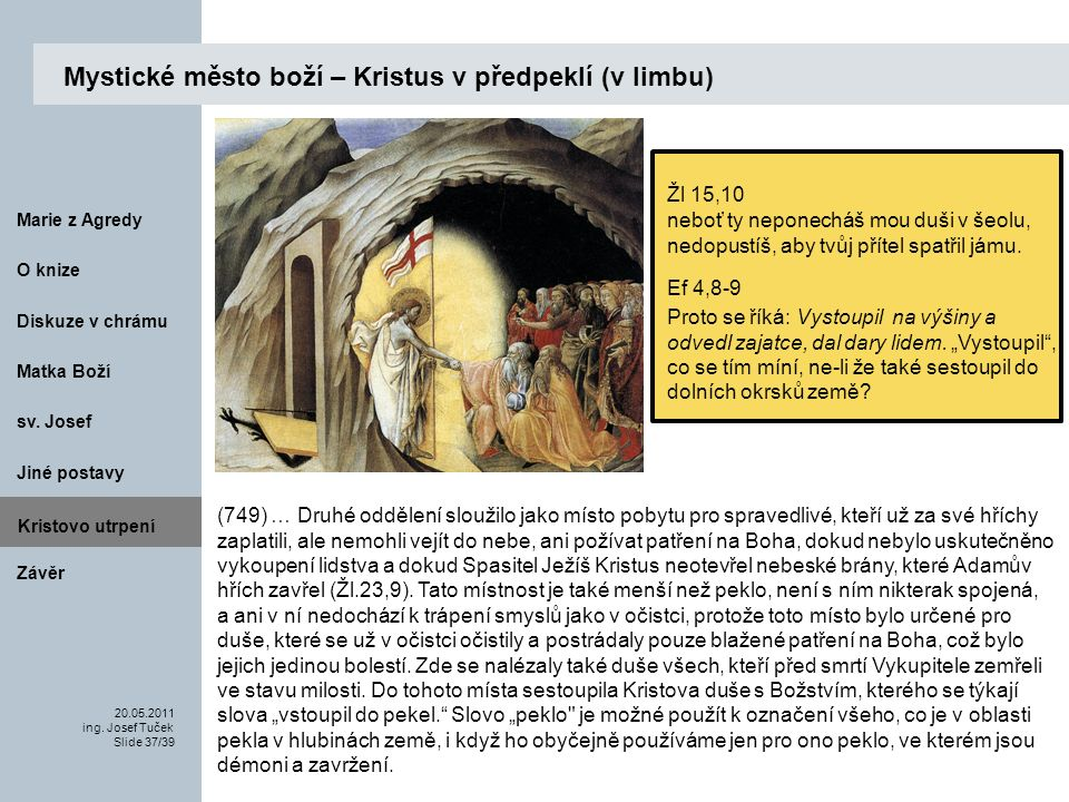 Matka Boží O knize 20.05.2011 ing.Josef Tuček Slide 37/39 Marie z Agredy sv.
