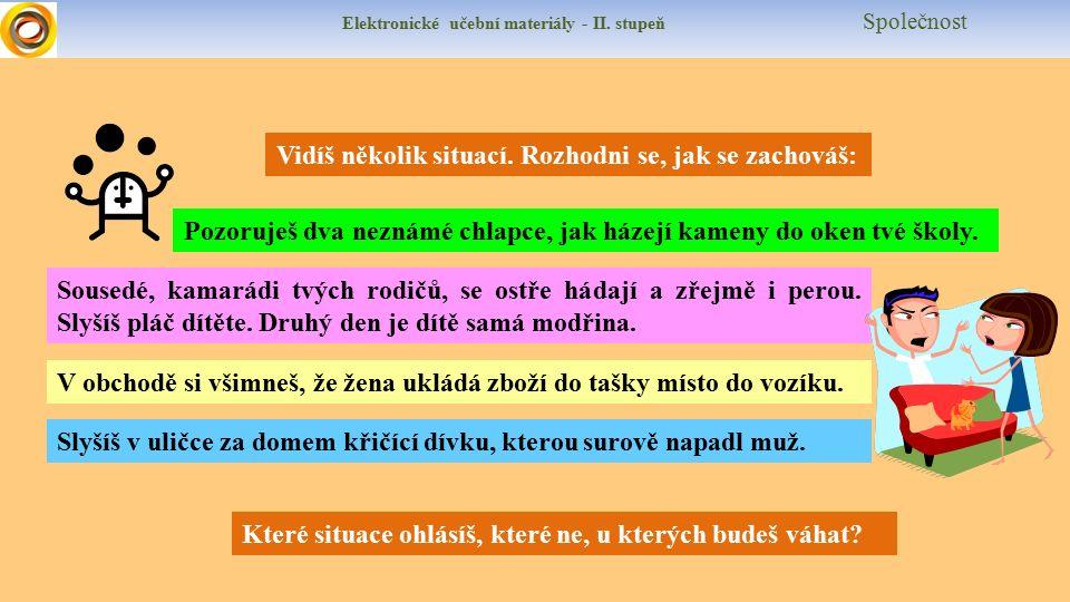Elektronické učební materiály - II. stupeň Společnost Vidíš několik situací.
