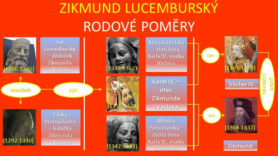 ZIKMUND LUCEMBURSKÝ RODOVÉ POMĚRY manželésyn Jan Lucemburský – dědeček Zikmunda i Václava Eliška Přemyslovna – babička Zikmunda i Václava (1296-1346) (1292-1330) syn syn Karel IV.