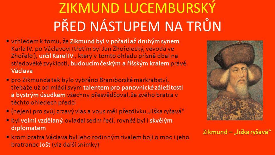 ZIKMUND LUCEMBURSKÝ PŘED NÁSTUPEM NA TRŮN  vzhledem k tomu, že Zikmund byl v pořadí až druhým synem Karla IV.