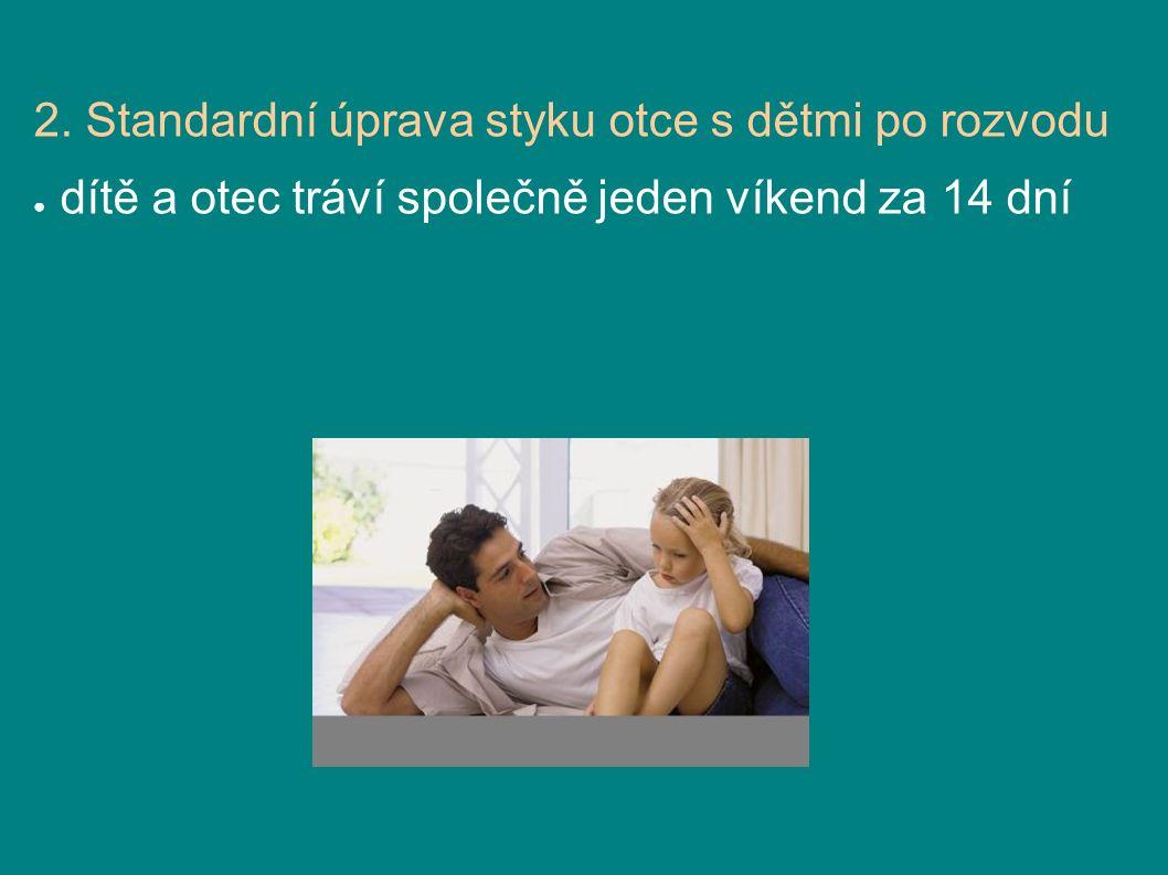 2. Standardní úprava styku otce s dětmi po rozvodu ● dítě a otec tráví společně jeden víkend za 14 dní