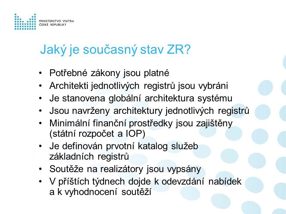 Jaký je současný stav ZR? Potřebné zákony jsou platné Architekti jednotlivých registrů jsou vybráni Je stanovena globální architektura systému Jsou na