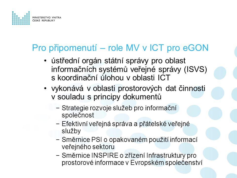 Pro připomenutí – role MV v ICT pro eGON ústřední orgán státní správy pro oblast informačních systémů veřejné správy (ISVS) s koordinační úlohou v obl