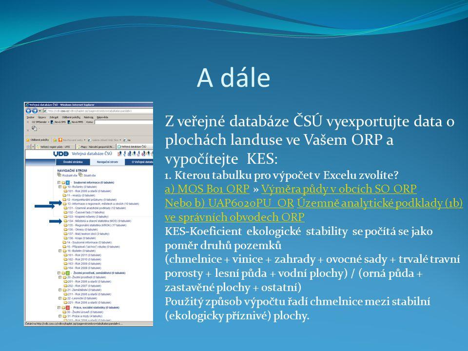 A dále Z veřejné databáze ČSÚ vyexportujte data o plochách landuse ve Vašem ORP a vypočítejte KES: 1.