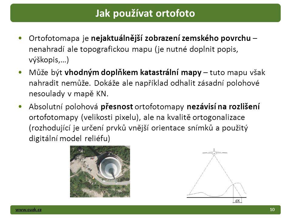 www.cuzk.cz10 Jak používat ortofoto Ortofotomapa je nejaktuálnější zobrazení zemského povrchu – nenahradí ale topografickou mapu (je nutné doplnit popis, výškopis,…) Může být vhodným doplňkem katastrální mapy – tuto mapu však nahradit nemůže.