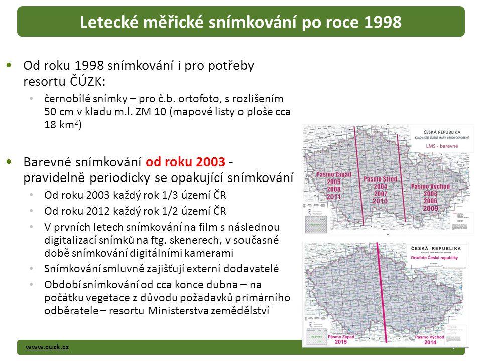 www.cuzk.cz Od roku 1998 snímkování i pro potřeby resortu ČÚZK: černobílé snímky – pro č.b.