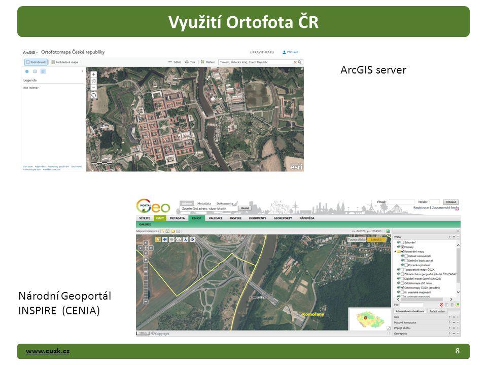 www.cuzk.cz8 Využití Ortofota ČR ArcGIS server Národní Geoportál INSPIRE (CENIA)