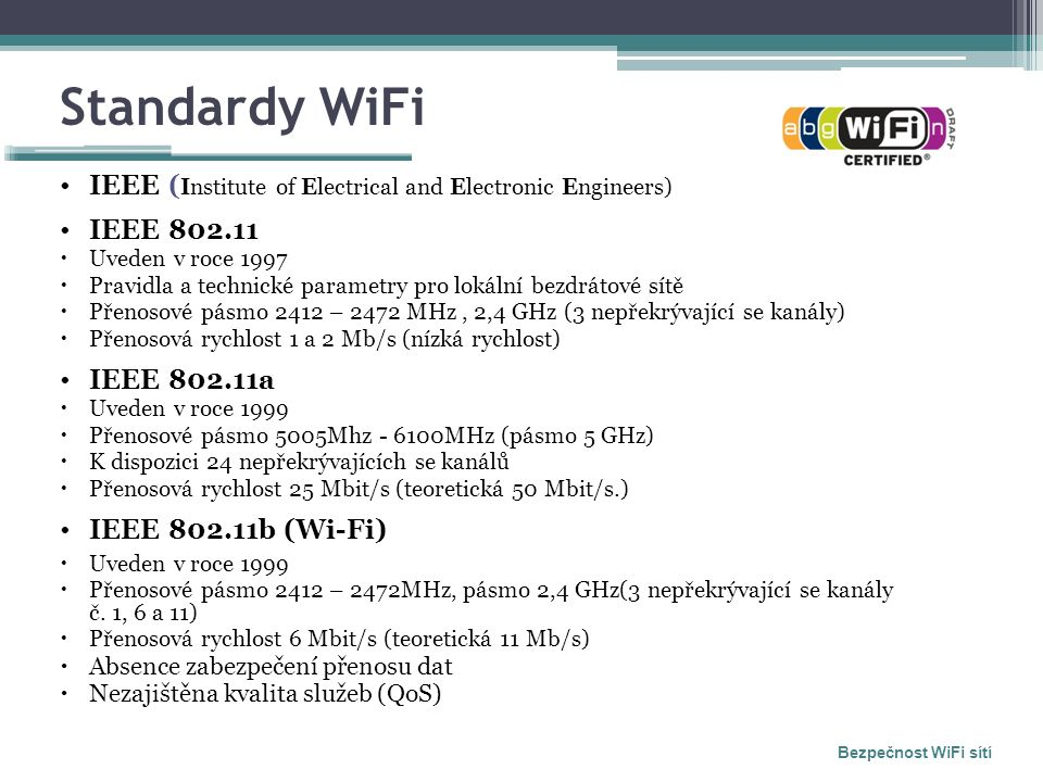 Standardy WiFi IEEE ( Institute of Electrical and Electronic Engineers) IEEE 802.11  Uveden v roce 1997  Pravidla a technické parametry pro lokální