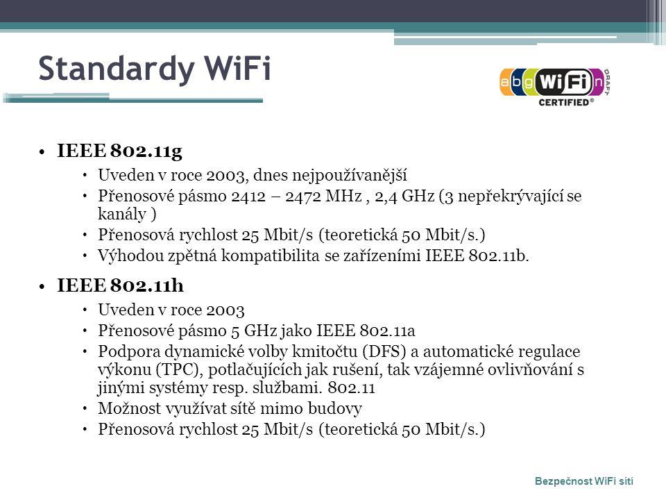 Standardy WiFi IEEE 802.11g  Uveden v roce 2003, dnes nejpoužívanější  Přenosové pásmo 2412 – 2472 MHz, 2,4 GHz (3 nepřekrývající se kanály )  Přenosová rychlost 25 Mbit/s (teoretická 50 Mbit/s.)  Výhodou zpětná kompatibilita se zařízeními IEEE 802.11b.
