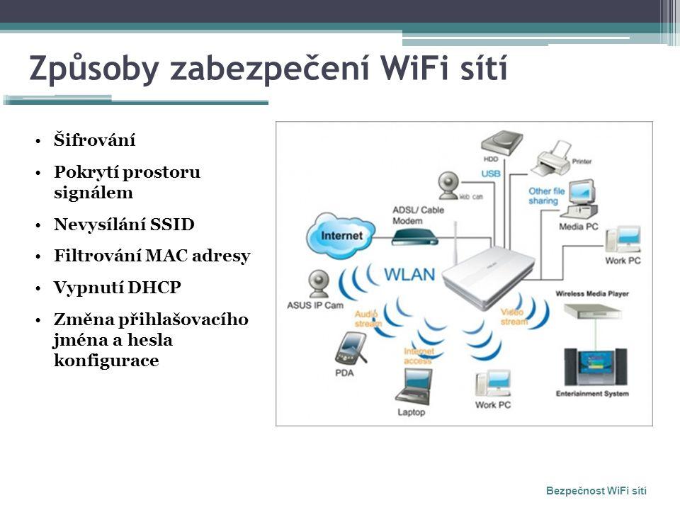 Způsoby zabezpečení WiFi sítí Bezpečnost WiFi sítí Šifrování Pokrytí prostoru signálem Nevysílání SSID Filtrování MAC adresy Vypnutí DHCP Změna přihla