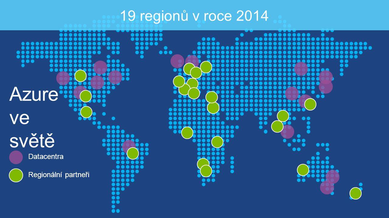 Azure ve světě 19 regionů v roce 2014 Datacentra Regionální partneři
