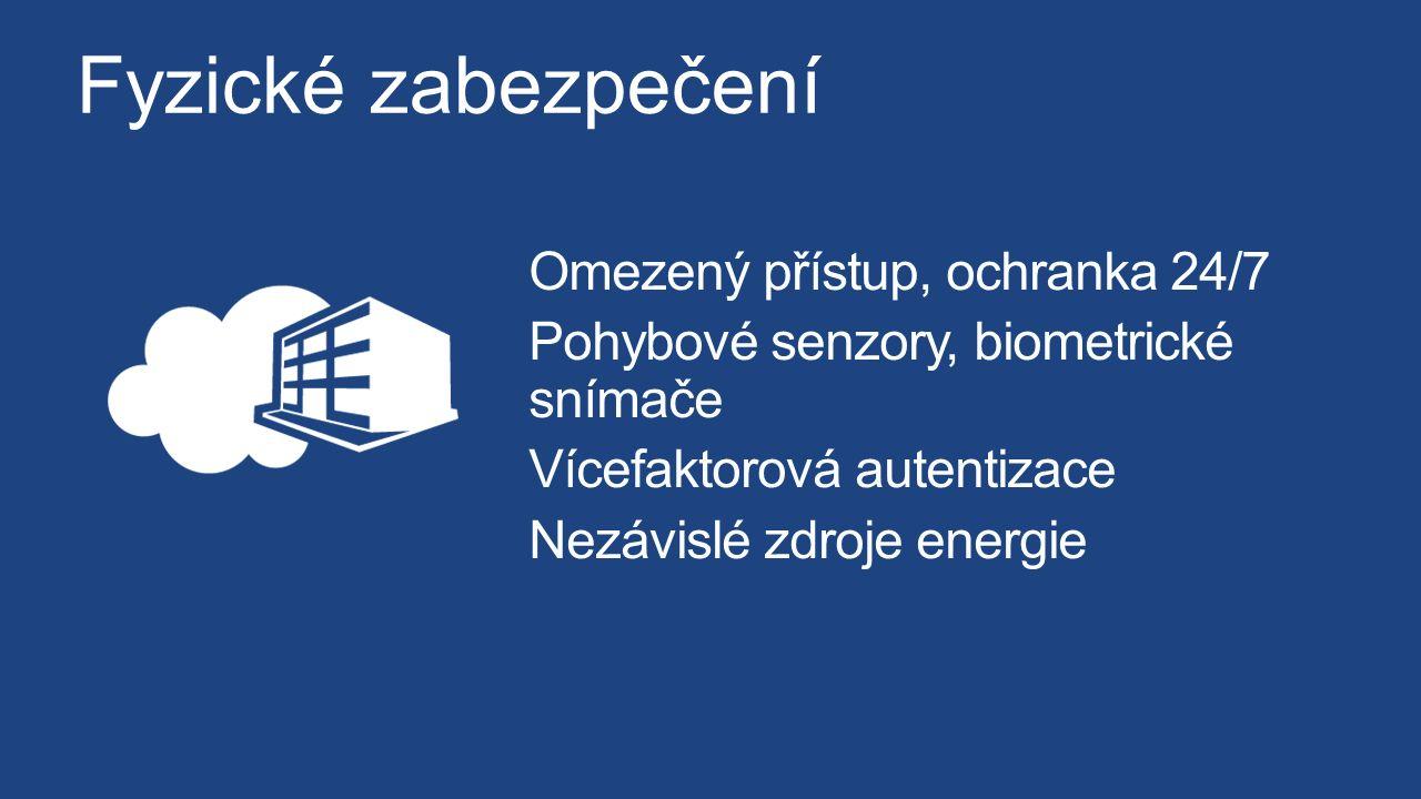 Fyzické zabezpečení Omezený přístup, ochranka 24/7 Pohybové senzory, biometrické snímače Vícefaktorová autentizace Nezávislé zdroje energie