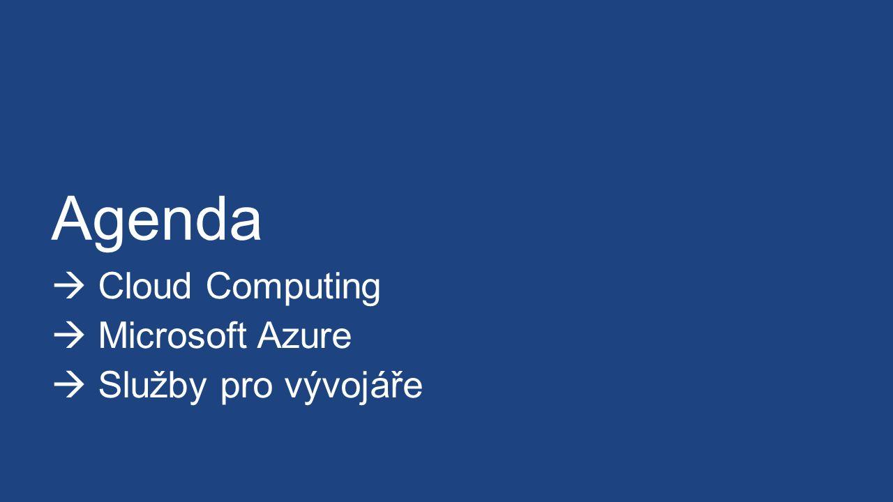 Agenda  Cloud Computing  Microsoft Azure  Služby pro vývojáře