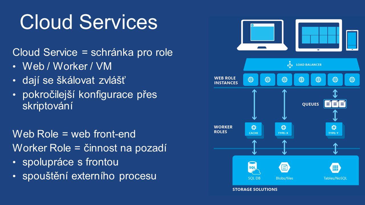 Cloud Services Cloud Service = schránka pro role Web / Worker / VM dají se škálovat zvlášť pokročilejší konfigurace přes skriptování Web Role = web front-end Worker Role = činnost na pozadí spolupráce s frontou spouštění externího procesu