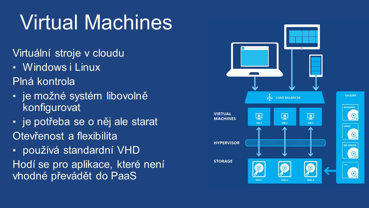 Virtual Machines Virtuální stroje v cloudu Windows i Linux Plná kontrola je možné systém libovolně konfigurovat je potřeba se o něj ale starat Otevřenost a flexibilita používá standardní VHD Hodí se pro aplikace, které není vhodné převádět do PaaS