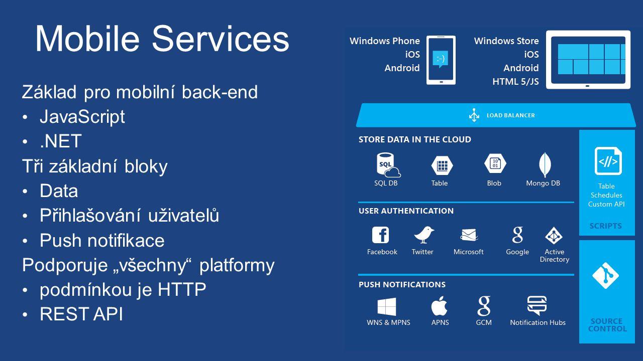 """Mobile Services Základ pro mobilní back-end JavaScript.NET Tři základní bloky Data Přihlašování uživatelů Push notifikace Podporuje """"všechny platformy podmínkou je HTTP REST API"""