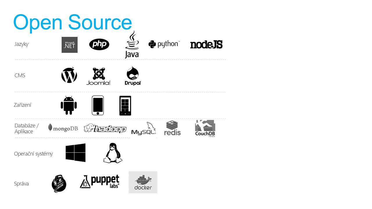 Open Source Jazyky CMS Zařízení Databáze / Aplikace Operační systémy Správa