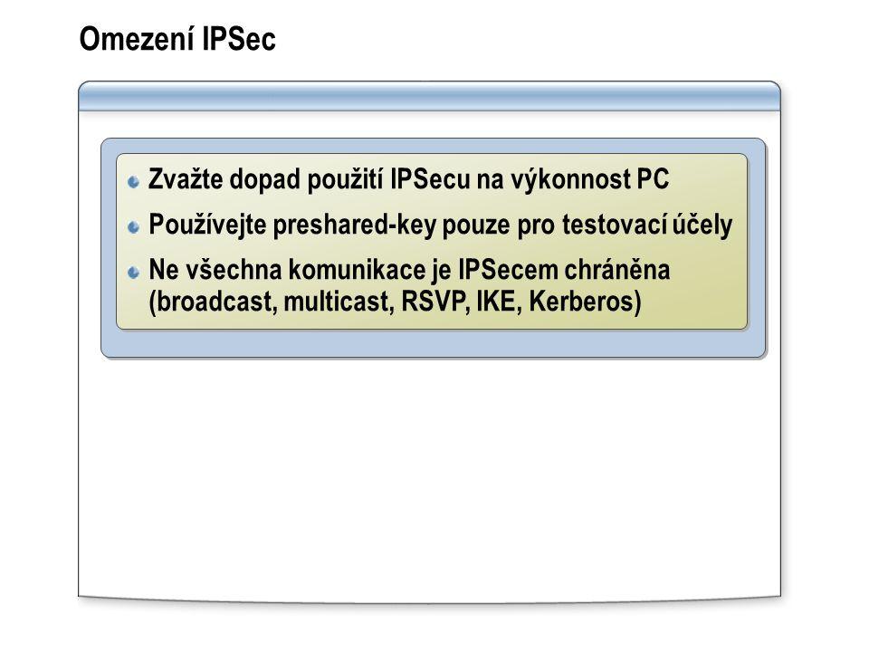 Omezení IPSec Zvažte dopad použití IPSecu na výkonnost PC Používejte preshared-key pouze pro testovací účely Ne všechna komunikace je IPSecem chráněna (broadcast, multicast, RSVP, IKE, Kerberos) Zvažte dopad použití IPSecu na výkonnost PC Používejte preshared-key pouze pro testovací účely Ne všechna komunikace je IPSecem chráněna (broadcast, multicast, RSVP, IKE, Kerberos)