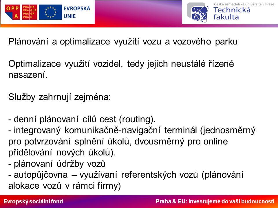 Evropský sociální fond Praha & EU: Investujeme do vaší budoucnosti Plánování a optimalizace využití vozu a vozového parku Optimalizace využití vozidel