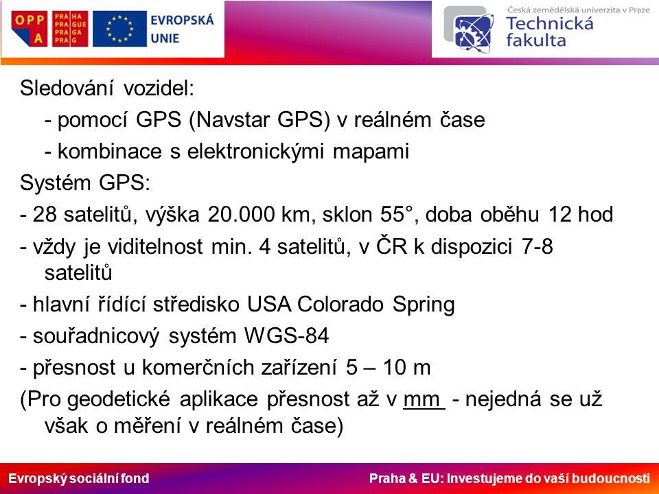 Evropský sociální fond Praha & EU: Investujeme do vaší budoucnosti Sledování vozidel: - pomocí GPS (Navstar GPS) v reálném čase - kombinace s elektron