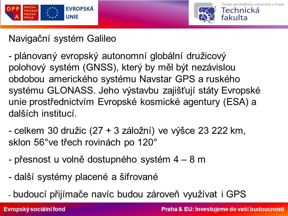 Evropský sociální fond Praha & EU: Investujeme do vaší budoucnosti Navigační systém Galileo - plánovaný evropský autonomní globální družicový polohový
