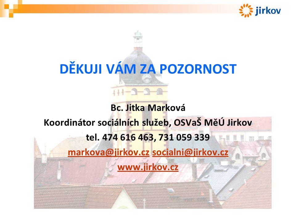 DĚKUJI VÁM ZA POZORNOST Bc. Jitka Marková Koordinátor sociálních služeb, OSVaŠ MěÚ Jirkov tel.