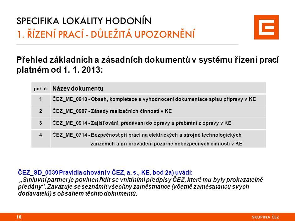 SPECIFIKA LOKALITY HODONÍN 1. ŘÍZENÍ PRACÍ - DŮLEŽITÁ UPOZORNĚNÍ Přehled základních a zásadních dokumentů v systému řízení prací platném od 1. 1. 2013