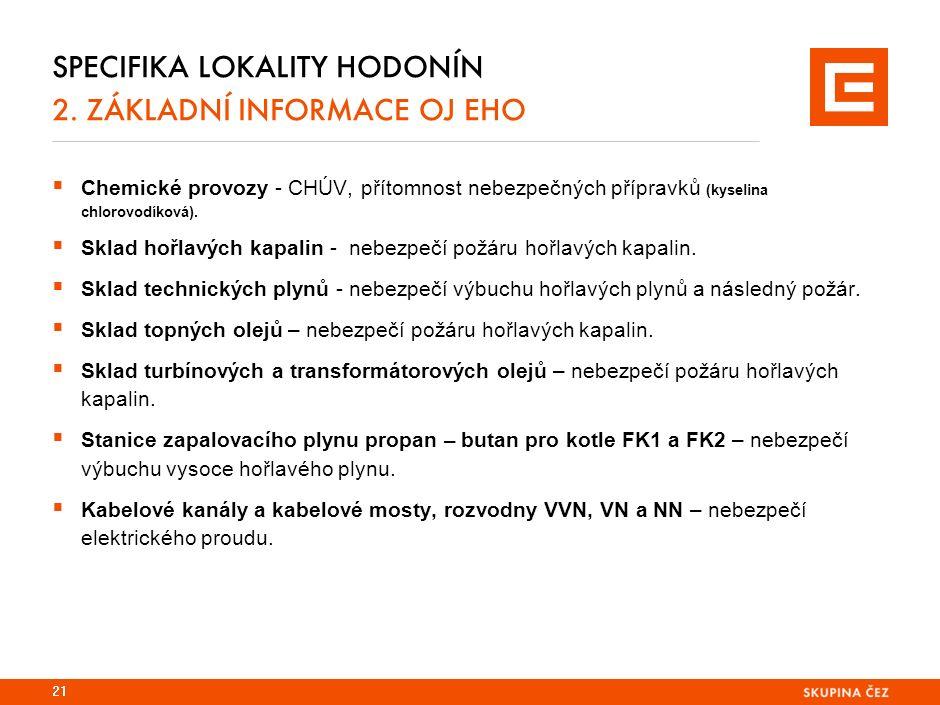 SPECIFIKA LOKALITY HODONÍN 2. ZÁKLADNÍ INFORMACE OJ EHO  Chemické provozy - CHÚV, přítomnost nebezpečných přípravků (kyselina chlorovodíková).  Skla