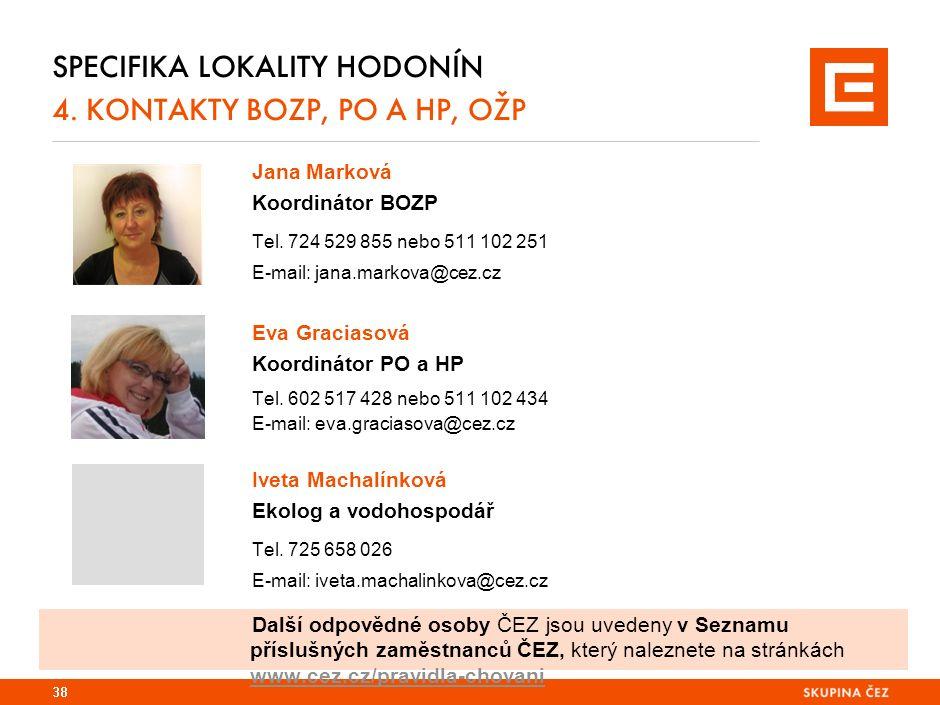 SPECIFIKA LOKALITY HODONÍN 4. KONTAKTY BOZP, PO A HP, OŽP Jana Marková Koordinátor BOZP Tel. 724 529 855 nebo 511 102 251 E-mail: jana.markova@cez.cz