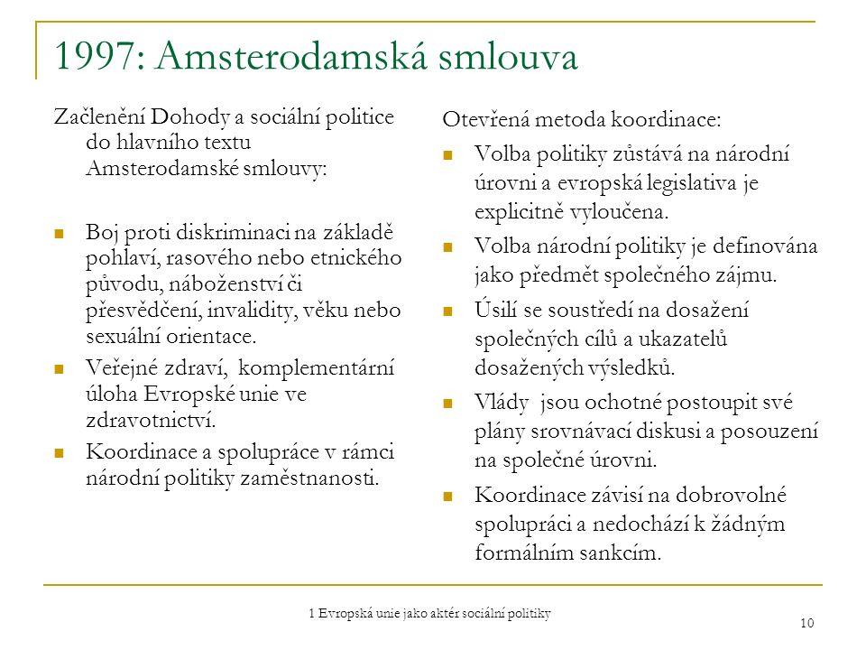 1 Evropská unie jako aktér sociální politiky 10 1997: Amsterodamská smlouva Začlenění Dohody a sociální politice do hlavního textu Amsterodamské smlou