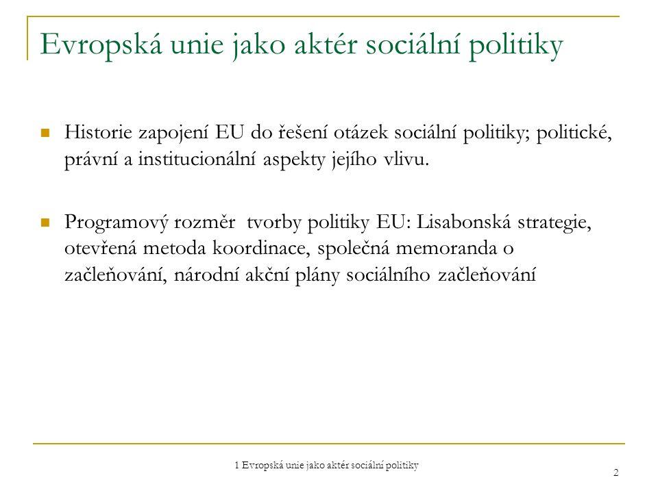 1 Evropská unie jako aktér sociální politiky 3 Instituce EU Uspořádání a funkce institucí Evropské unie Evropský parlament Rada EU Evropská komise Soudní dvůr Auditorský dvůr  Evropský hospodářský a sociální výbor  Výbor regionů  Evropská ústřední banka  Evropský veřejný ochránce práv  Evropská investiční banka  …
