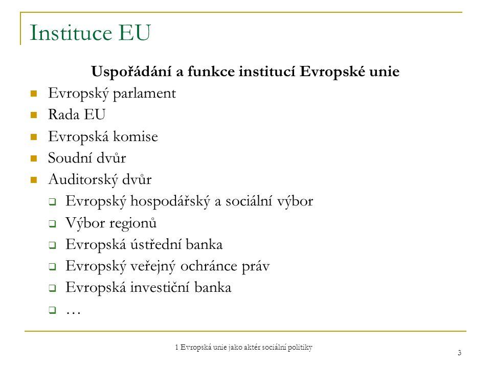 1 Evropská unie jako aktér sociální politiky 3 Instituce EU Uspořádání a funkce institucí Evropské unie Evropský parlament Rada EU Evropská komise Sou