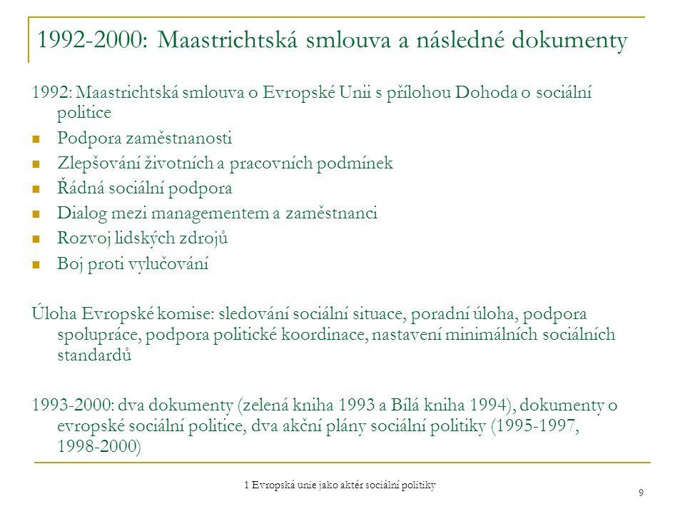 1 Evropská unie jako aktér sociální politiky 9 1992-2000: Maastrichtská smlouva a následné dokumenty 1992: Maastrichtská smlouva o Evropské Unii s pří