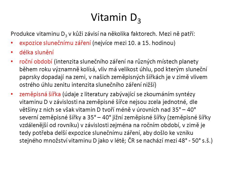 Vitamin D 3 Produkce vitaminu D 3 v kůži závisí na několika faktorech. Mezi ně patří: expozice slunečnímu záření (nejvíce mezi 10. a 15. hodinou) délk