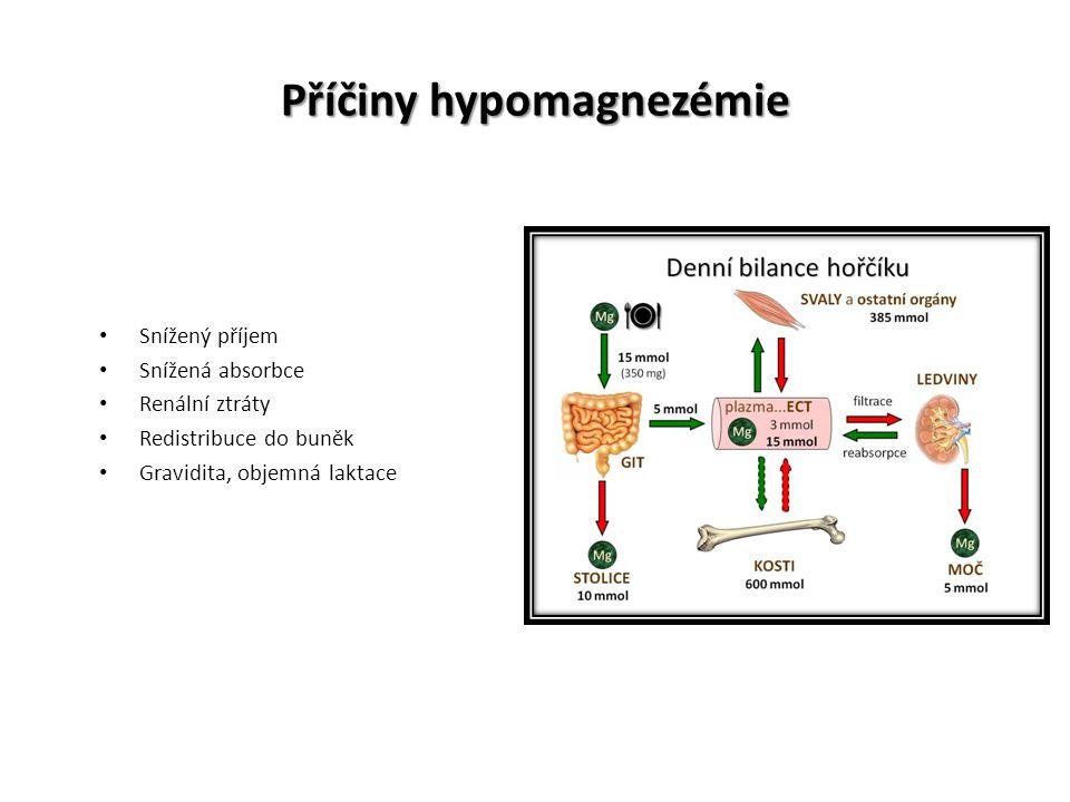 Příčiny hypomagnezémie Snížený příjem Snížená absorbce Renální ztráty Redistribuce do buněk Gravidita, objemná laktace