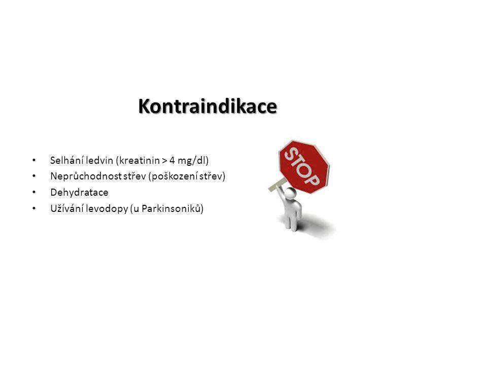 Kontraindikace Selhání ledvin (kreatinin > 4 mg/dl) Neprůchodnost střev (poškození střev) Dehydratace Užívání levodopy (u Parkinsoniků)