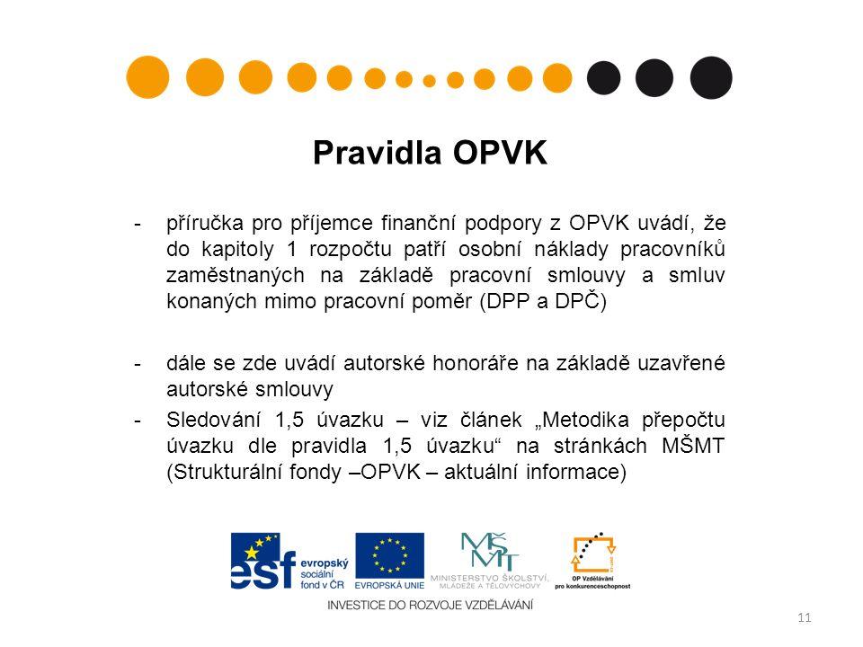 """Pravidla OPVK -příručka pro příjemce finanční podpory z OPVK uvádí, že do kapitoly 1 rozpočtu patří osobní náklady pracovníků zaměstnaných na základě pracovní smlouvy a smluv konaných mimo pracovní poměr (DPP a DPČ) -dále se zde uvádí autorské honoráře na základě uzavřené autorské smlouvy -Sledování 1,5 úvazku – viz článek """"Metodika přepočtu úvazku dle pravidla 1,5 úvazku na stránkách MŠMT (Strukturální fondy –OPVK – aktuální informace) 11"""