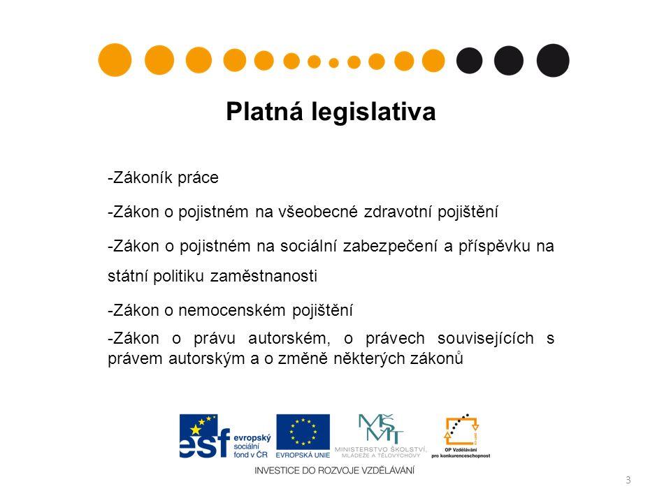 Platná legislativa -Zákoník práce -Zákon o pojistném na všeobecné zdravotní pojištění -Zákon o pojistném na sociální zabezpečení a příspěvku na státní politiku zaměstnanosti -Zákon o nemocenském pojištění -Zákon o právu autorském, o právech souvisejících s právem autorským a o změně některých zákonů 3