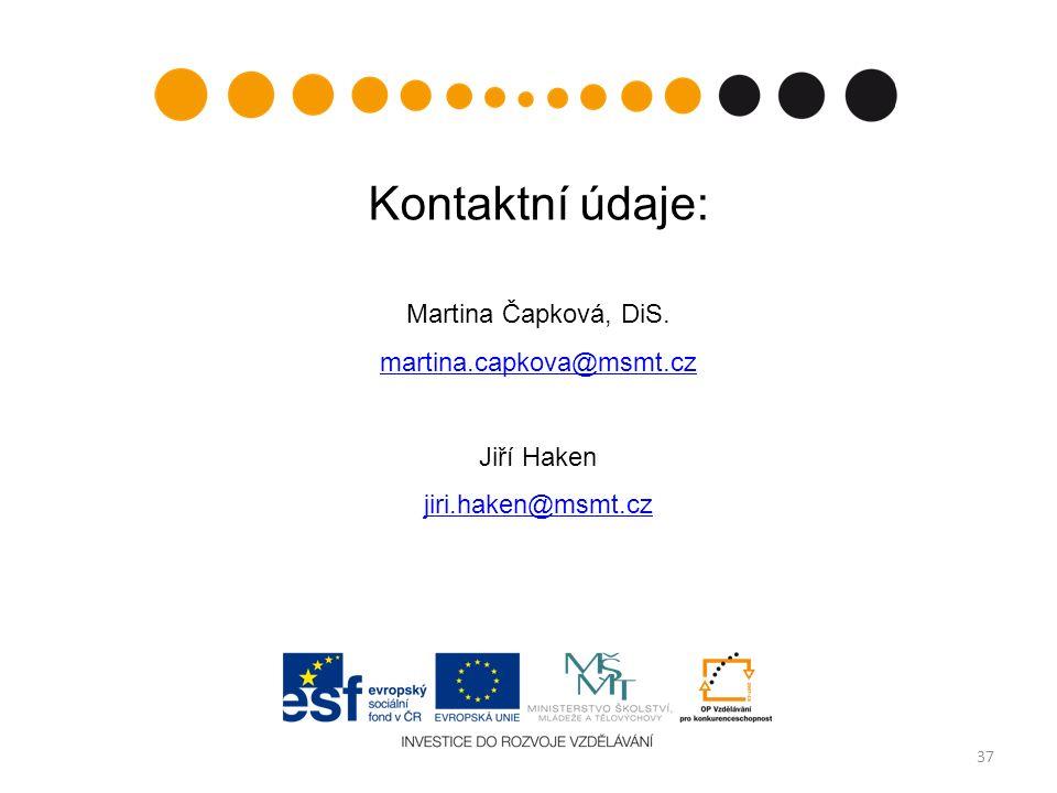 37 Kontaktní údaje: Martina Čapková, DiS. martina.capkova@msmt.cz Jiří Haken jiri.haken@msmt.cz