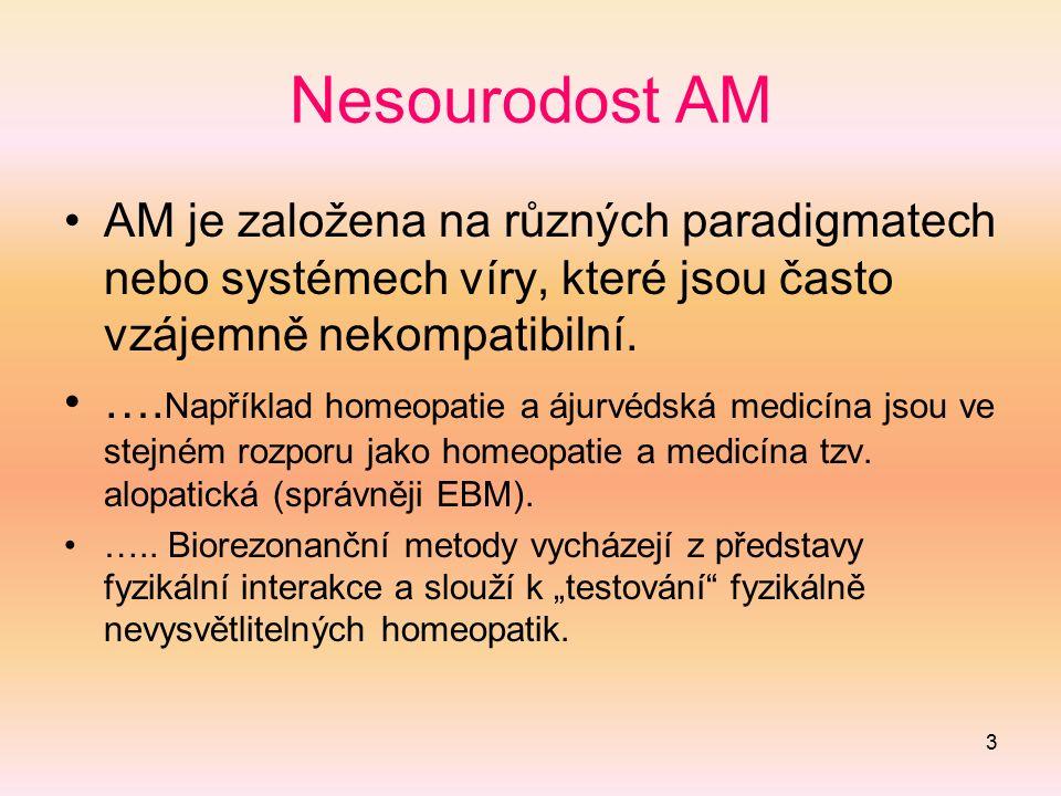 3 Nesourodost AM AM je založena na různých paradigmatech nebo systémech víry, které jsou často vzájemně nekompatibilní. …. Například homeopatie a ájur