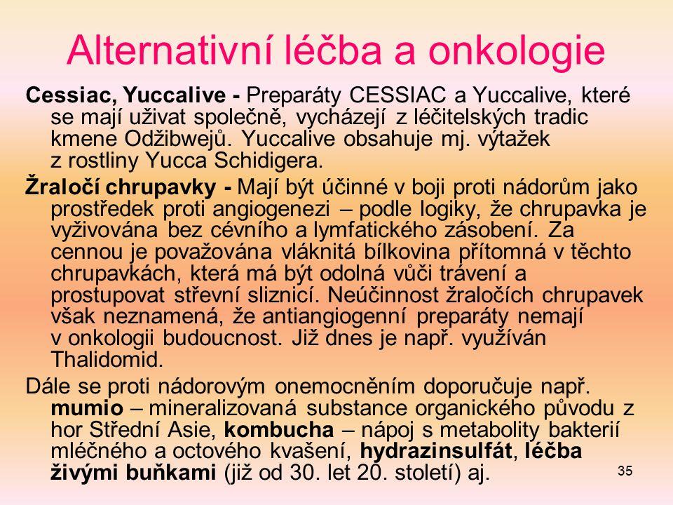 35 Alternativní léčba a onkologie Cessiac, Yuccalive - Preparáty CESSIAC a Yuccalive, které se mají uživat společně, vycházejí z léčitelských tradic k
