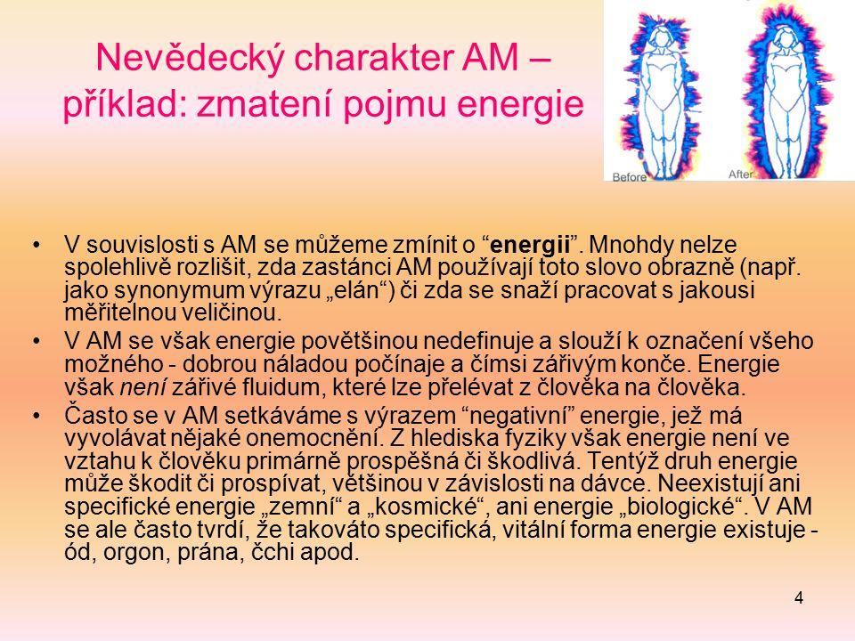 """4 Nevědecký charakter AM – příklad: zmatení pojmu energie V souvislosti s AM se můžeme zmínit o """"energii"""". Mnohdy nelze spolehlivě rozlišit, zda zastá"""