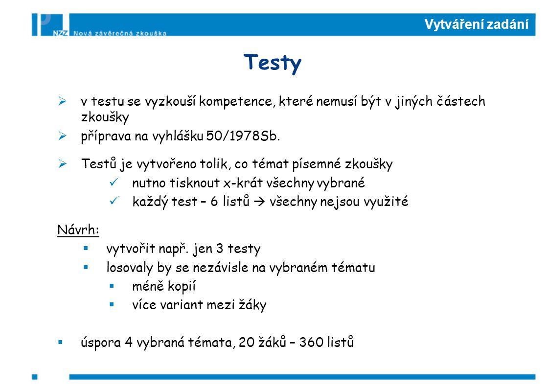 Vytváření zadání Testy  v testu se vyzkouší kompetence, které nemusí být v jiných částech zkoušky  příprava na vyhlášku 50/1978Sb.  Testů je vytvoř